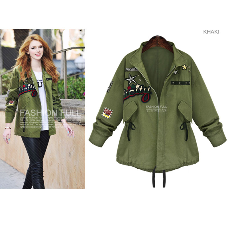 Women Casual Jacket Army Green Overwear Plus Size Jacket Europe ...