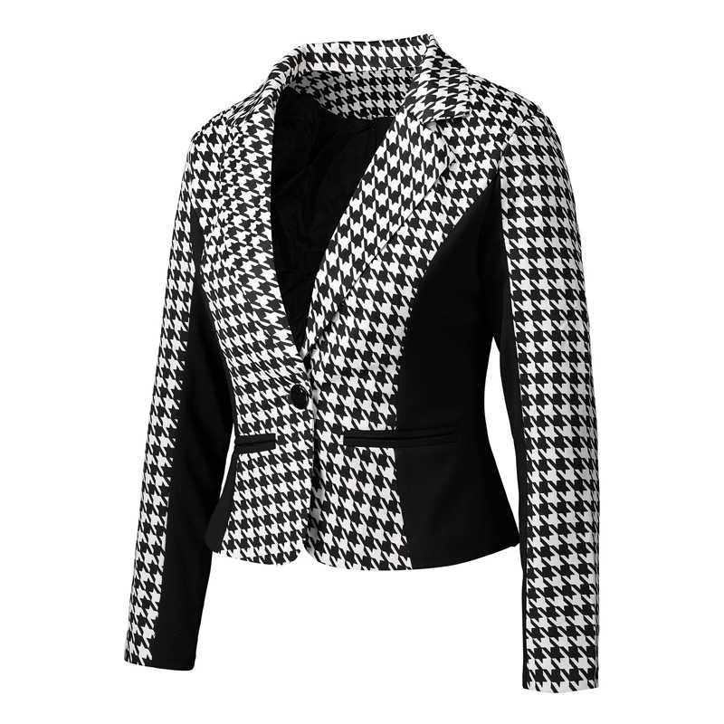 2019 Fashion Vrouwen Suits Herfst Plus Size 3XL Kantoor Werk Draagt Slim Zwart Wit Houndstooth Blazer En Vesten Dames Jassen
