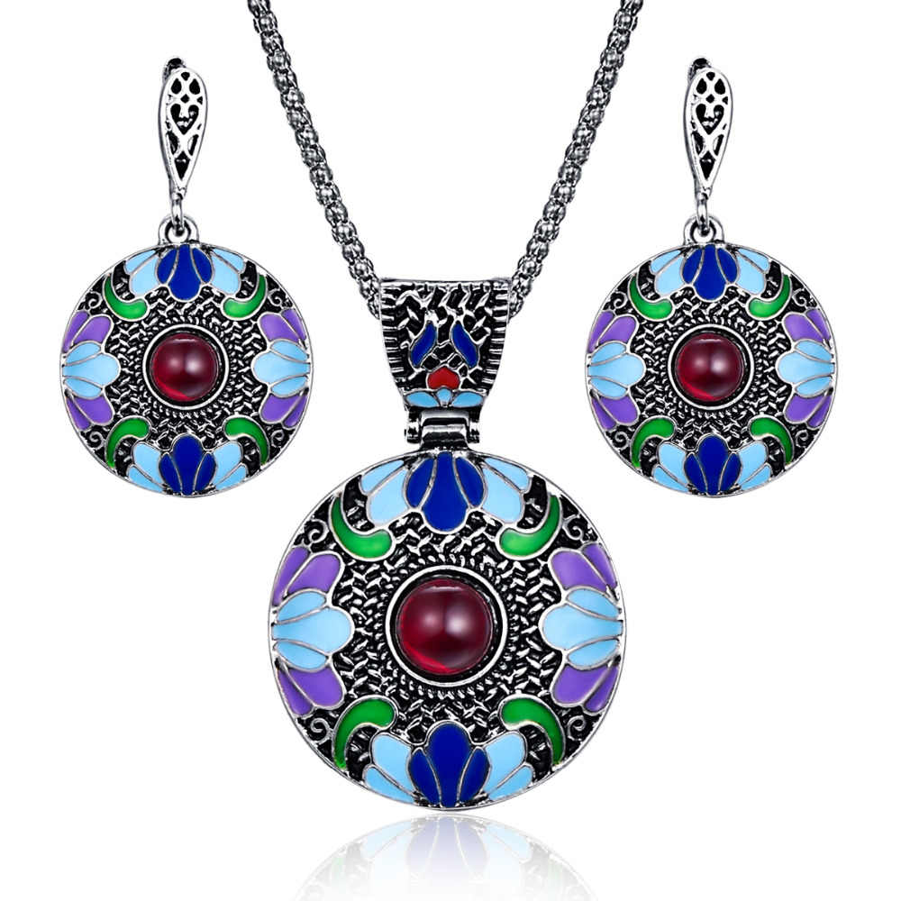 Bohemian Enamel Jewelry Sets For Women Antique Silver Color Red Resin Beaded Big Round Disc Pendant Necklace And Earrings Set