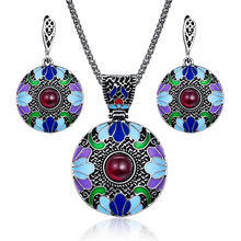 Bohemian Enamel Jewelry Sets For Women Antique Silver Color Red Resin Beaded Big Round Disc Pendant Necklace And Earrings Set(China)