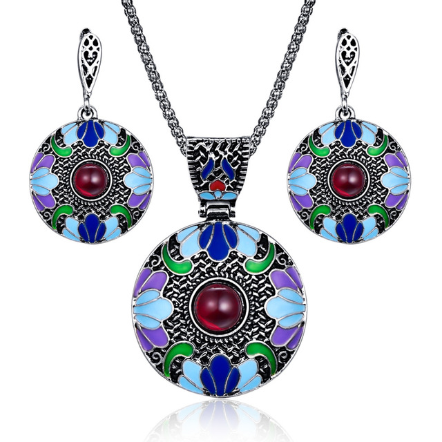 Bohemian Enamel Jewelry Sets For Women Antique Silver Color Red Resin Beaded Big