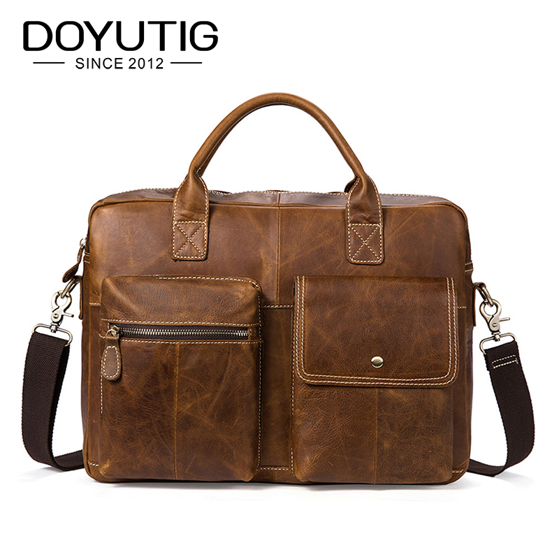 цена на DOYUTIG Men's Real Cow Leather Business Briefcases 15 Inches Brown / Coffee Genunie Leather Male Messenger Computer Bags G127