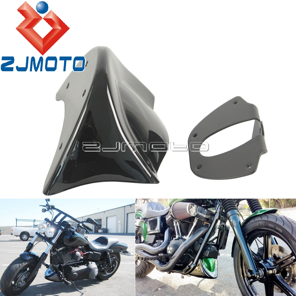 Set Glossy Black Lower Front Chin Spoiler Cover Mounting Bracket Compatible with 2006-2017 Harley Dyna FXD