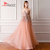 LIYATT New Arrival 2018 Amazing Dusty Pink Shinny Spaghetti Strap Glitter Vintage Arabic Formal Long Evening Prom Dress