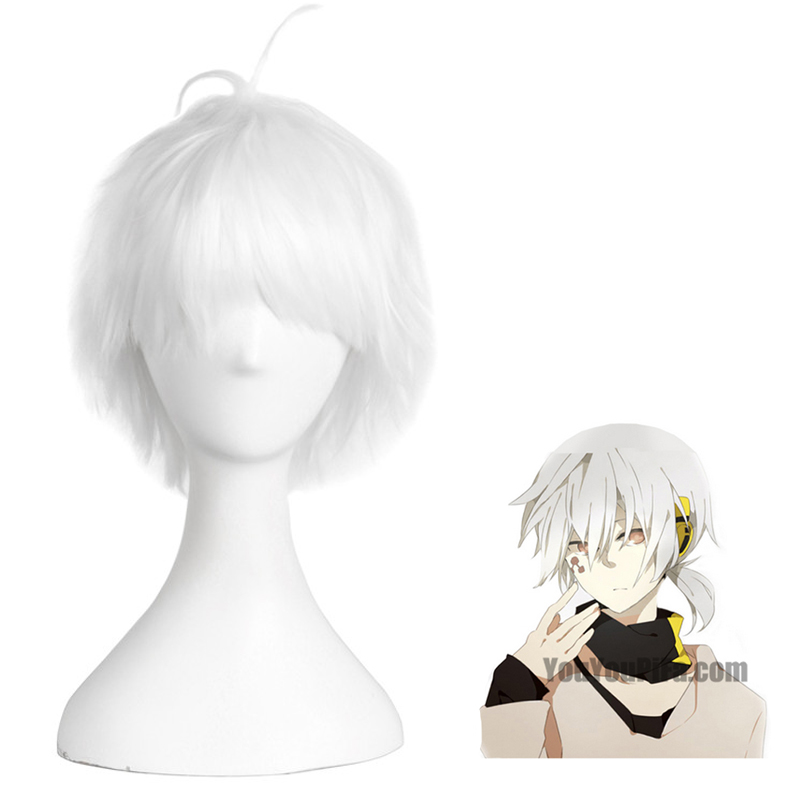 Kagerou Project Konoha 35cm White Anime Costume Cosplay Straight Wig Halloween Party Men Heat Resistant Hair Free Cap