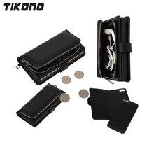 2 В 1 многофункциональный Молнии Кожа Съемный Съемный Бумажник Флип мобильный Телефон Дело Чехол для iPhone 6 6 s 6 Плюс 7 7 Плюс