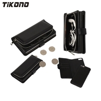 2 In 1 Multi Function Zipper Leather Removeable Detachable Wallet Flip Mobile Phone Case Cover For