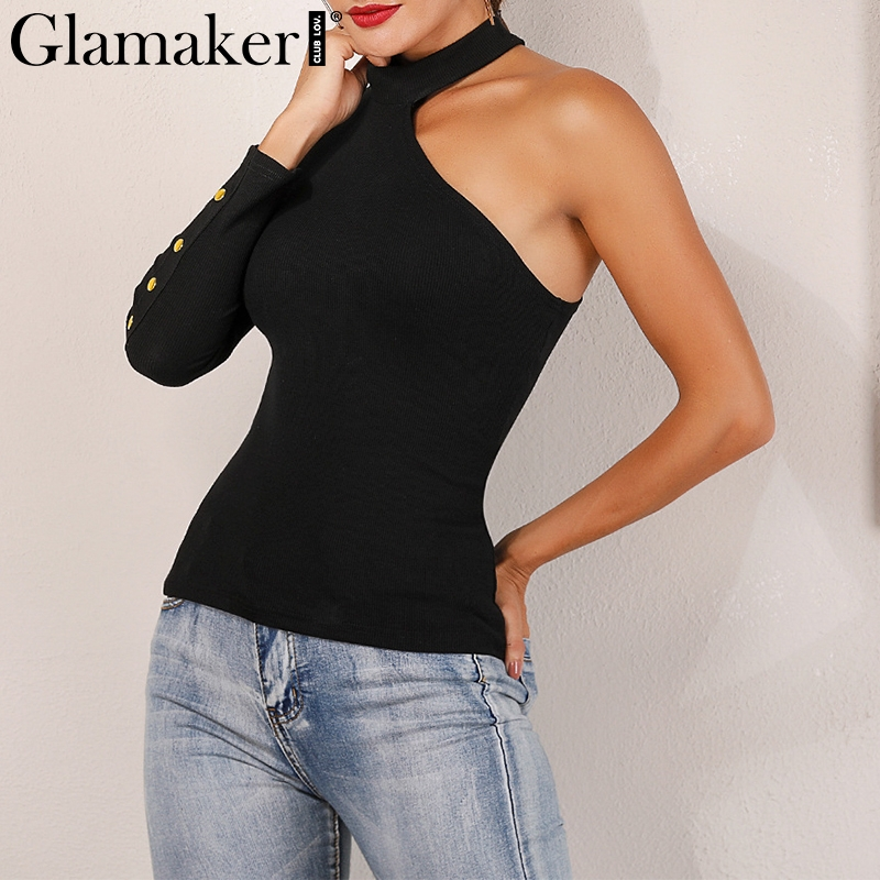 Glamaker One shoulder knitted buttons sexy   blouse     shirt   Women black long sleeve streetwear camis Female causal fashion top tees