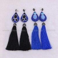 4 Paires de Long soie gland balancent boucles d'oreilles Bleu Marine style de baisse boucles d'oreilles en gros prix mode Gemmes pierre bijoux 1782