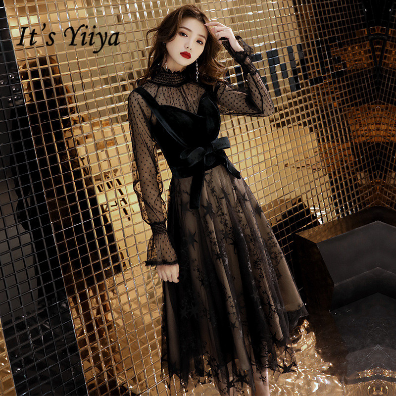 It's YiiYa Evening Dress Black Tie Bow Tea Length Formal Dresses Women Elegant Long Sleeve Gowns A-line robe de soiree E004(China)