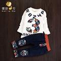 2016 nova moda bebê roupas de impressão de manga comprida t-shirt + calças 2 pcs meninos roupas de bebê
