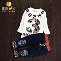 2016 nueva moda ropa de bebé niño de manga larga impresión T-shirt + pants 2 unids bebe recién nacido niños bebés ropa set