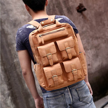 94f9b11f4a Classic crazy horse leather backpack for men multifunction 17 inch laptop  big capacity travel rucksack cowhide daypack for male