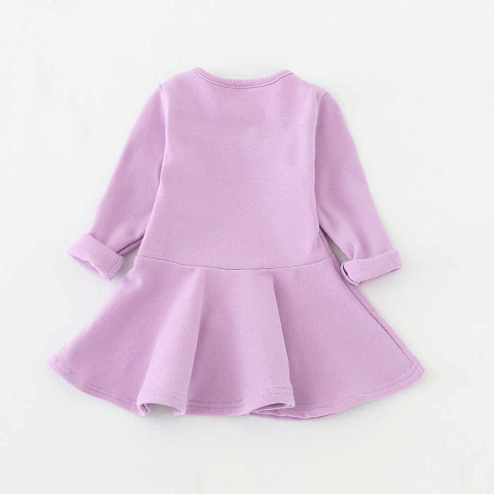 b49594281 Primavera otoño Color caramelo algodón bebé niña vestidos manga larga  sólido princesa vestido lazo-Nudo o-cuello niño niños plisado vestidos