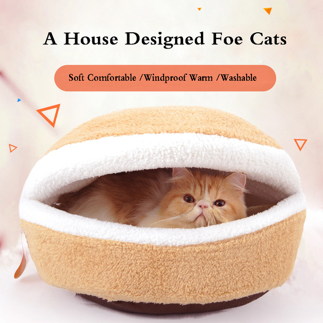Hamburger Cat Dog Bed With Cover Removable Warm Shell Cave Sleeping Bag Pet Kitten Cat Dog Sleeping Bed House Hamburger Form