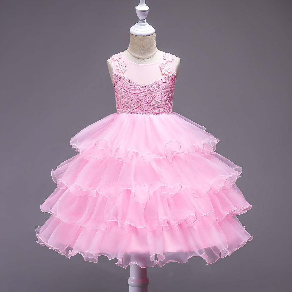 Baby Kids Girls Ball Cute Birthday Dresses 2 3 4 5 6 7 Years Children Tutu Infant Princess Cupcake Girls Pink Flower Girl Dress