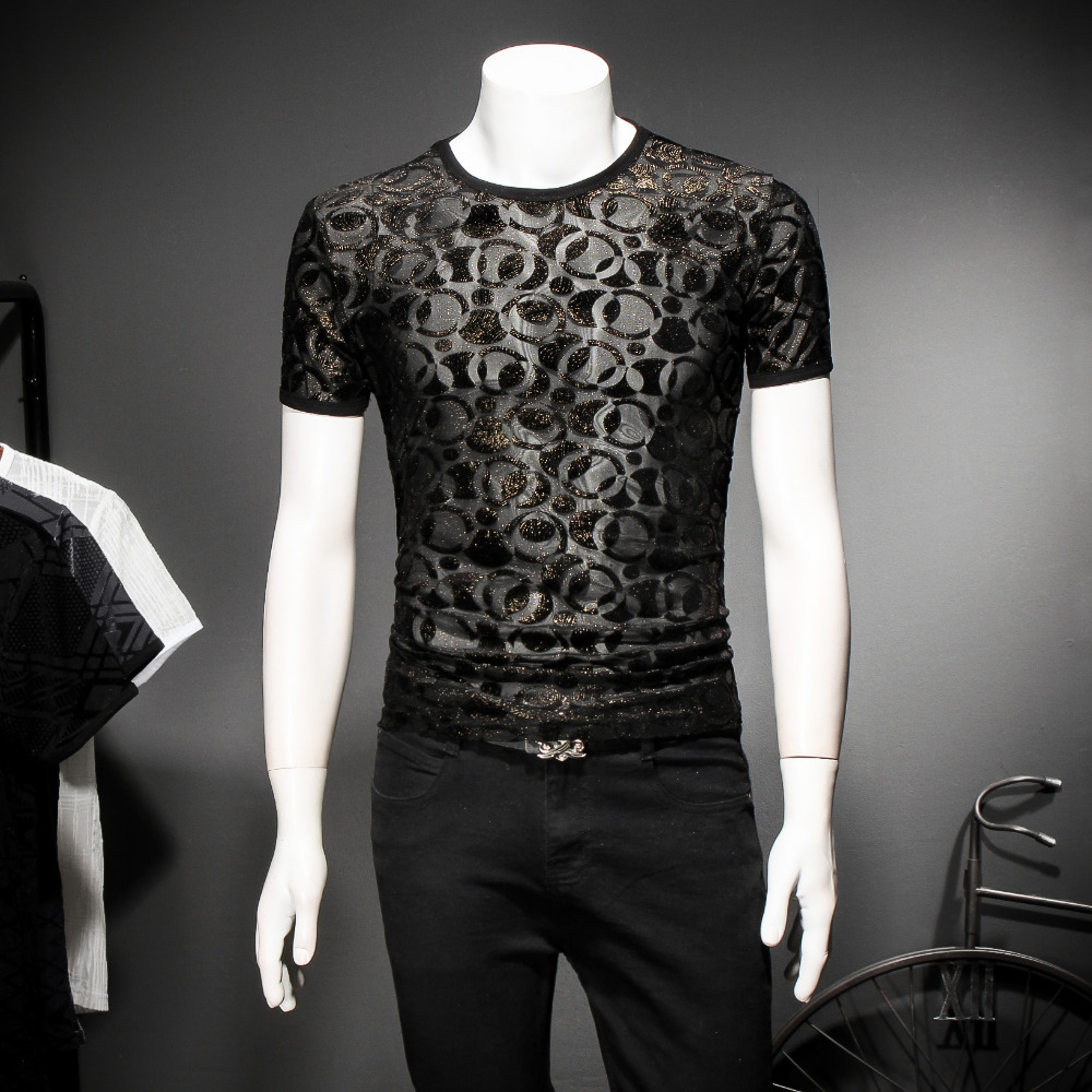 2018 new mens thin section breathable short-sleeved Korean imports burned series summer T-shirt trend Slim sexy male T-shirt