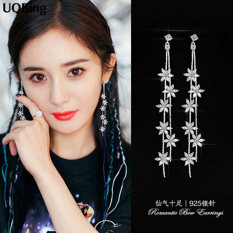 Korean Exaggerated Stud Earrings Fringed Fashion Rhinestone Flower 925 Sterling Silver Stud Earrings Jewelry Pendientes Brincos black tree printed children teepee four poles kids play tent cotton canvas tipi for baby house ins hot foldable children s tent