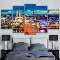 ケルン大聖堂hohenzollernブリッジ風景ポスター街の明かり5ピースウォールアート写真キャンバス絵画ホームデコレーションベッドルー