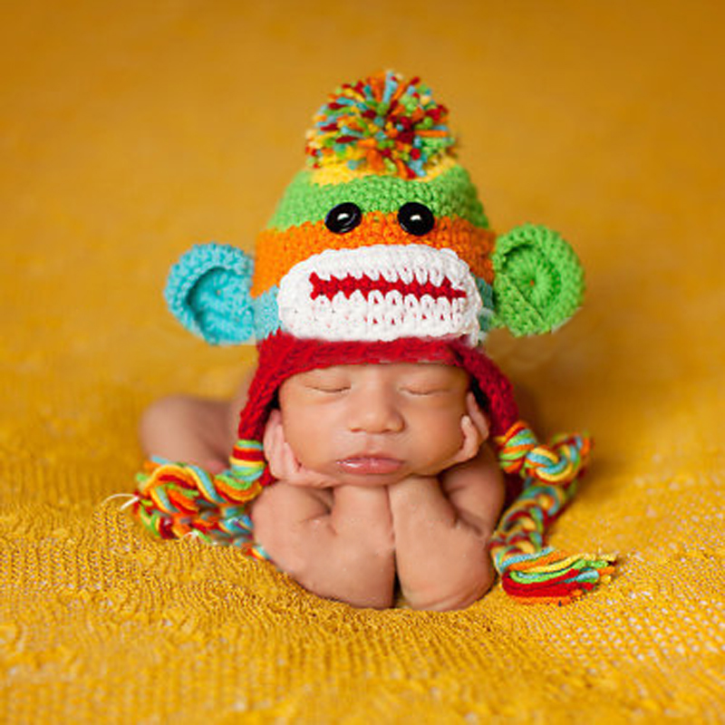 Baby Hat Pant Set Newborn Baby Boy Crochet Knit Sock Monkey Cap With Ear Flaps Photography Prop for Boys Girls D