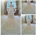 Hot 2016 Wedding Veils Long Crystal Veil With Lace Bridal Veils Beauty One Layer Long Cathedral Wedding Accessories