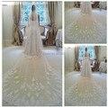 Hot 2016 de la boda velos largo velo cristal con encaje velos de novia de la belleza de una capas catedral largo accesorios de la boda