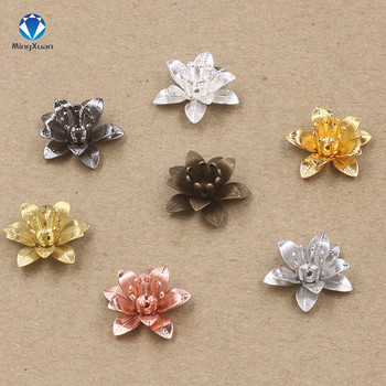 MINGXUAN Copper Filigree Flowers Base Connector Bead Cap Charms Setting For Jewelry Making Components