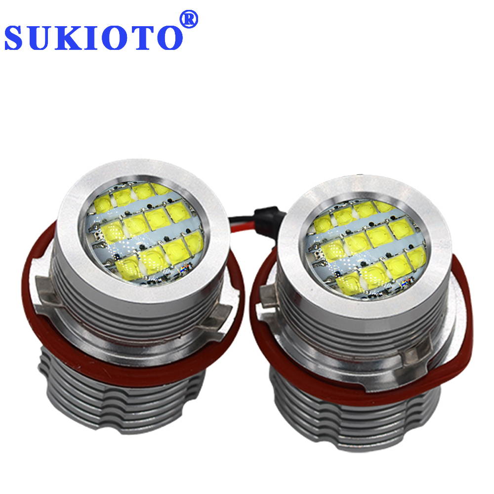 SUKIOTO 1 Pair 60W LED Marker E39 led Chips Angel Eyes White/Red/Blue/Yellow DRL marker E39 E60 E87 E53 E63 E64 E61 LED