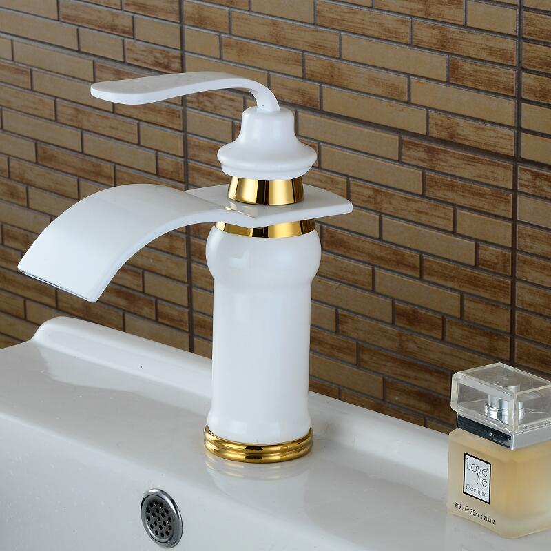 Bathroom Basin Faucet White and Gold Sink Faucet Waterfall Faucet Total Brass Mixer Tap Hot and Cold Bathroom FaucetBathroom Basin Faucet White and Gold Sink Faucet Waterfall Faucet Total Brass Mixer Tap Hot and Cold Bathroom Faucet