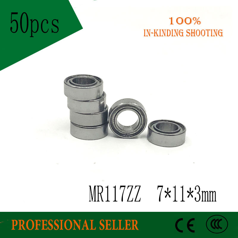 50pcs/Lot MR117ZZ  MR117 ZZ 7x11x3mm P6 ABEC-3 Thin Wall Deep Groove Ball Bearing Mini Ball Bearing Miniature Bearing