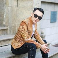Высокое качество вельветовый Блейзер Для мужчин вязаный свитер куртка Для мужчин Slim Fit дизайнер Для мужчин s мужской бейзер пиджак этап вече