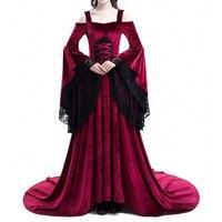 Women Plus Size Cosplay Halloween Dress Medieval Palace Princess Dress Adults Women Gothic Queen Long Dress Big Size S 5XL