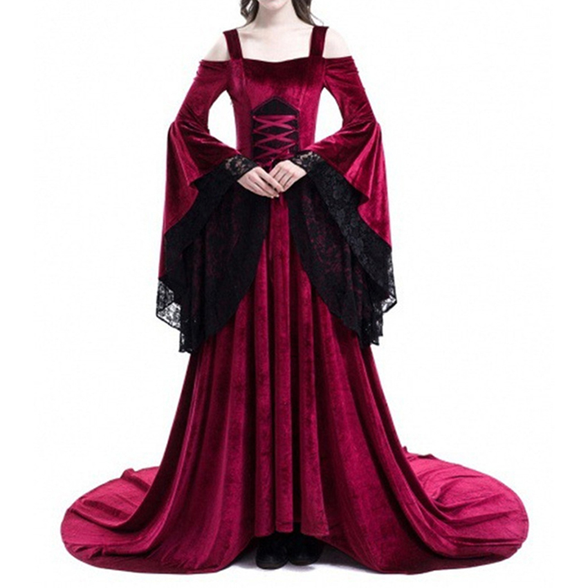 Plus Size Medieval Dresses: Women Plus Size Cosplay Halloween Dress Medieval Palace