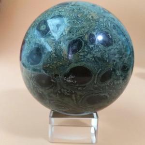 Image 5 - 6/7/8/9 センチメートル自然の緑孔雀の石クリスタルボール石美しい家の装飾ボールデスク風水風水治療ボール