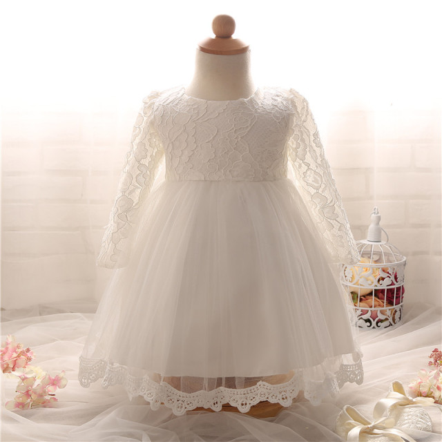 e789c548a9031 Newborn Baptism Dress For Baby Girl White First Birthday Party Wear Cute  Lace Long Sleeve Christening