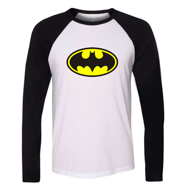DC Comics Superhero Bruce Wayne Batman T Shirt Men Boy Unisex Raglan Long Sleeve  Print Tees Rock Band Cotton Patchwork Tops a8279c16ab66