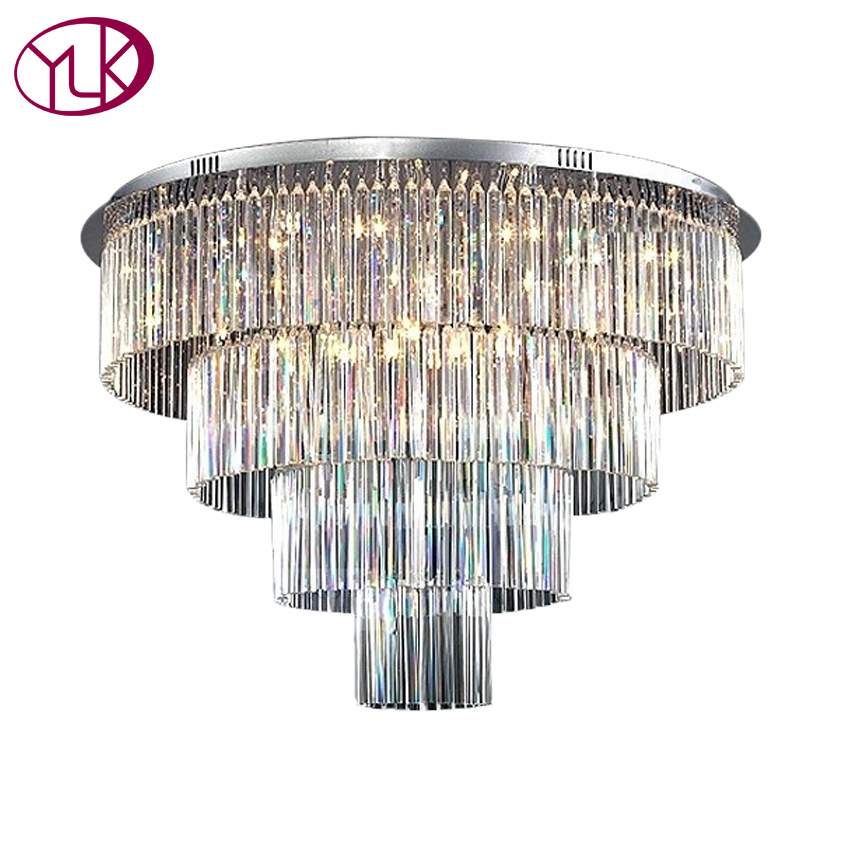 Youlaike Round Crystal Chandelier Light For Living Room Luxury Modern LED Crystal Foter Light Dia80*H60cm Indoor Lighting linenall women parkas loose medium long slanting lapel wadded jacket outerwear female plus size vintage cotton padded jacket ym