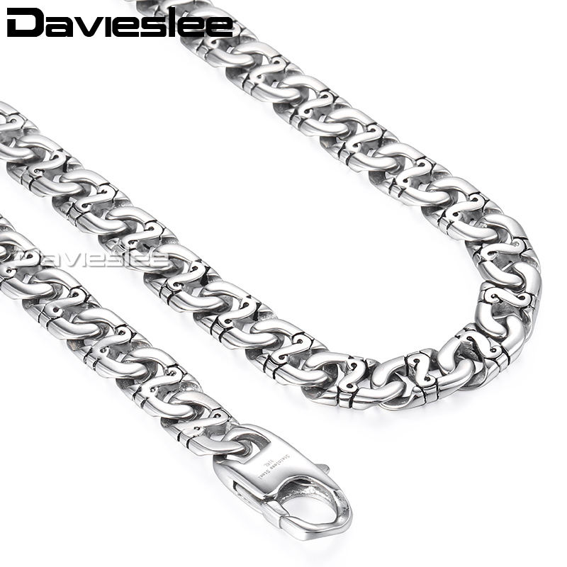 Image 5 - Davieslee Mens Necklace 316L Stainless Steel Biker Chain Necklaces for Men Silver Wholesale Punk Jewelry 9.5mm 18 36inch LHN01-in Chain Necklaces from Jewelry & Accessories