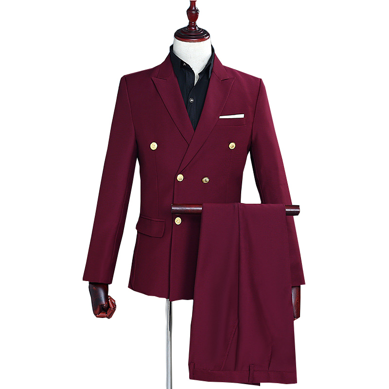 Wine Red Double Breasted Suits Men 2019 Long Sleeve Men Blazer With Pant 2 Pcs Party Wedding Dress Suits Casual Costume Homme