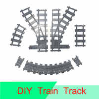 10-100Pcs/Set DIY City Trains Track Compatible LegoINGlys Trains Flexible Railway Tracks Straight Curved Track Model For Kids