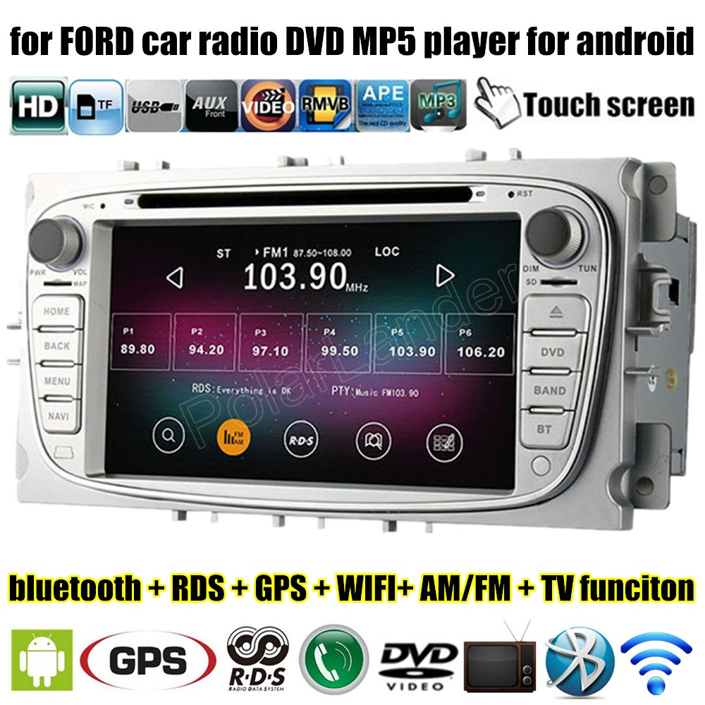 2 Din 7 Inch Car DVD Player for Android 4.4 4 For <font><b>Ford</b></font> <font><b>Focus</b></font> Mondeo S-<font><b>max</b></font> <font><b>C</b></font>-<font><b>max</b></font> <font><b>2007</b></font> 2008 2009 2010 2011 Wifi <font><b>GPS</b></font> RDS Radio image
