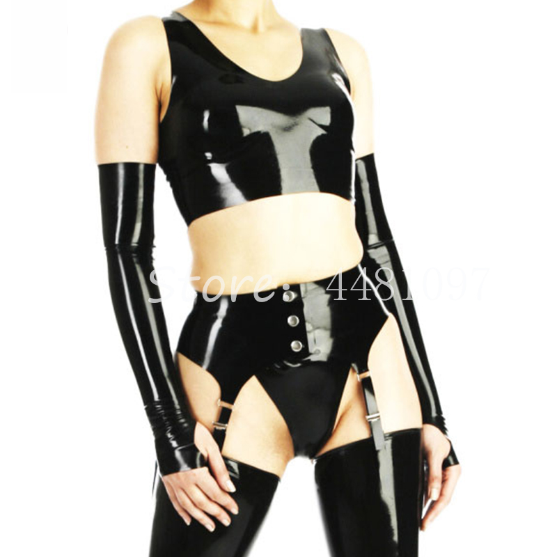 30fefa9a7 Detail Feedback Questions about Women Sexy Black Latex Rubber Vest with Garter  Suspender Belt Females  Lingerie Sets with Gloves Stocking(no Briefs) on ...