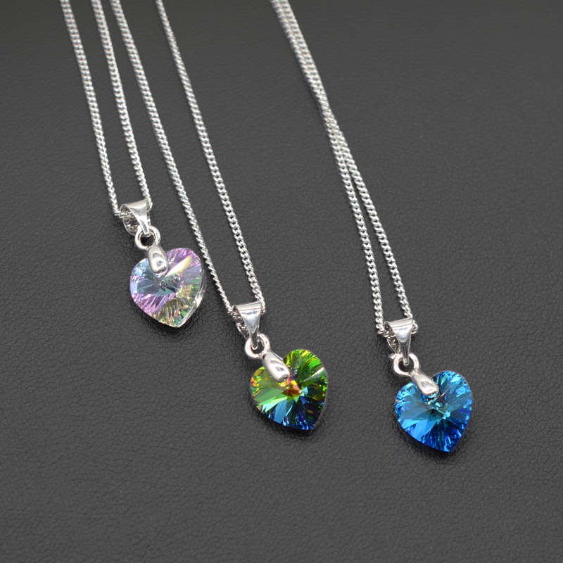 Jewelry & Access. ...  ... 32821769625 ... 3 ... BAFFIN Mini Heart Necklaces Pendant Crystals From Swarovski For Women Girls Gift Silver Color Chain Kids Jewelry Decorations ...