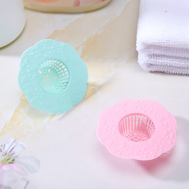 New 6pcs Set Bathroom Shower Drain Cover Flower Hair Filter Sink