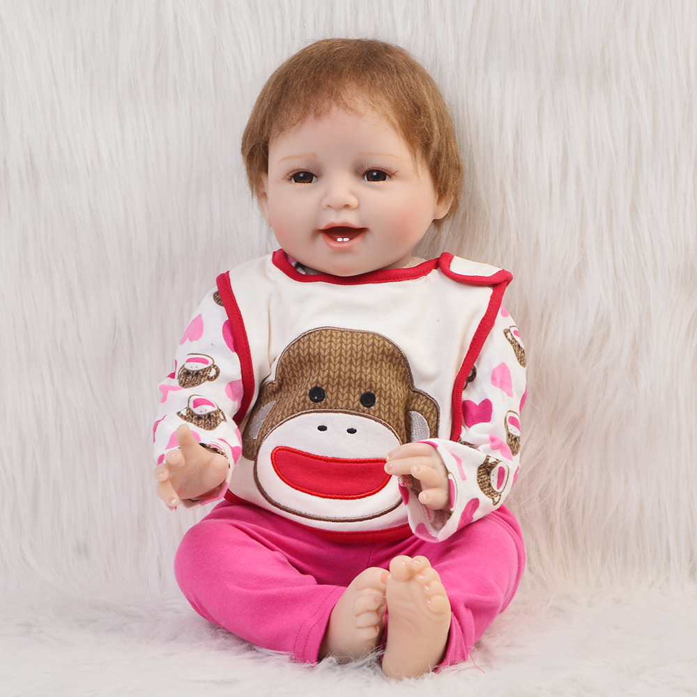 2018 Girl Babies Reborn Dolls For Sale Soft Silicone Vinyl 22'' Newborn Doll Cloth Body Baby Doll Toy Birthday Gift Kid Playmate