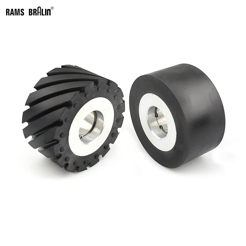 100 50mm Solid Grooved Rubber Contact Wheel Belt Grinder Part