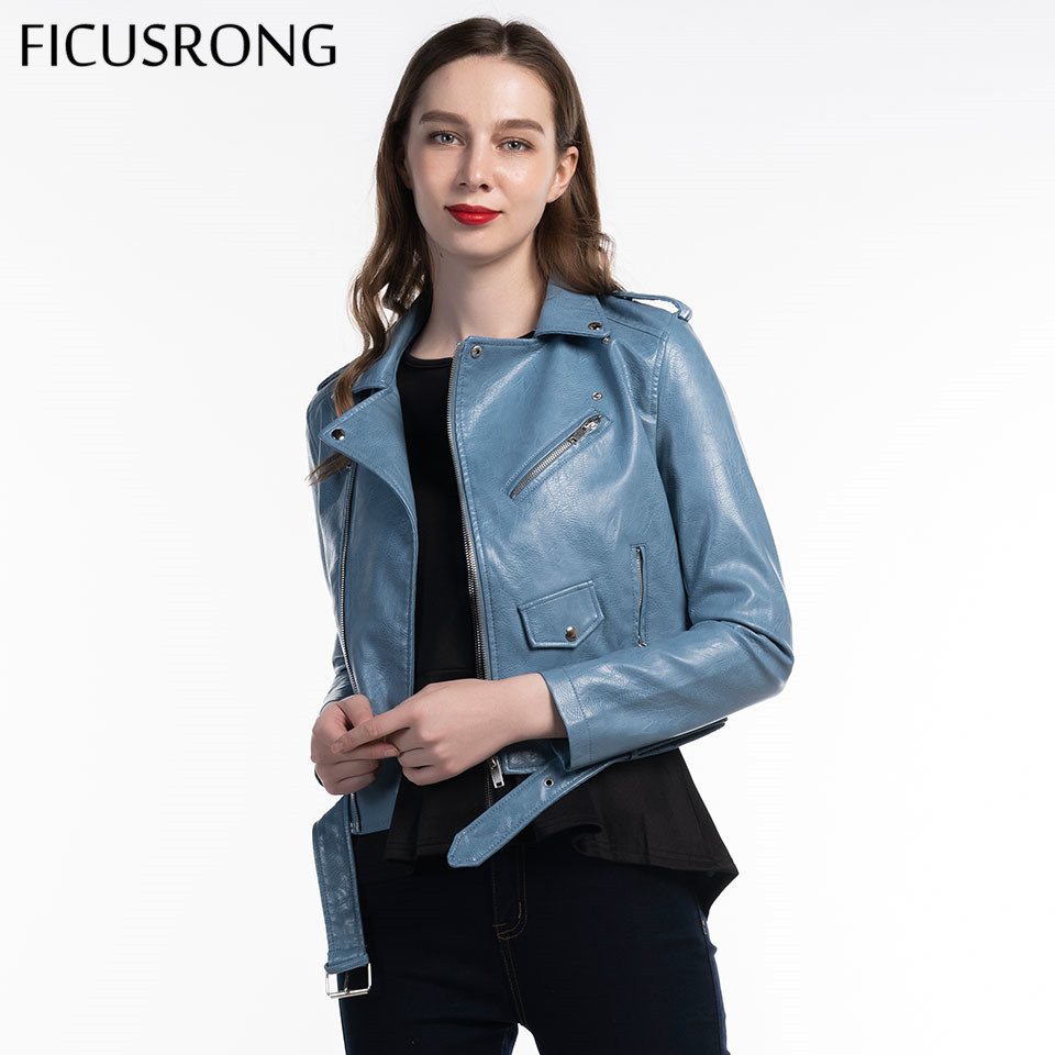 Fashion Women Autunm Winter Blue Faux Leather Jackets Lady Bomber Motorcycle Cool Outerwear Coat With Belt Hot Sale FICUSRONG