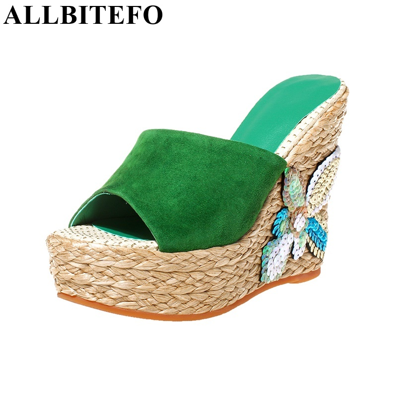 ФОТО ALLBITEFO Fashion Glitter wedges platform flip flops sheepskin peep toe summer high heels women sandals open toe sandals