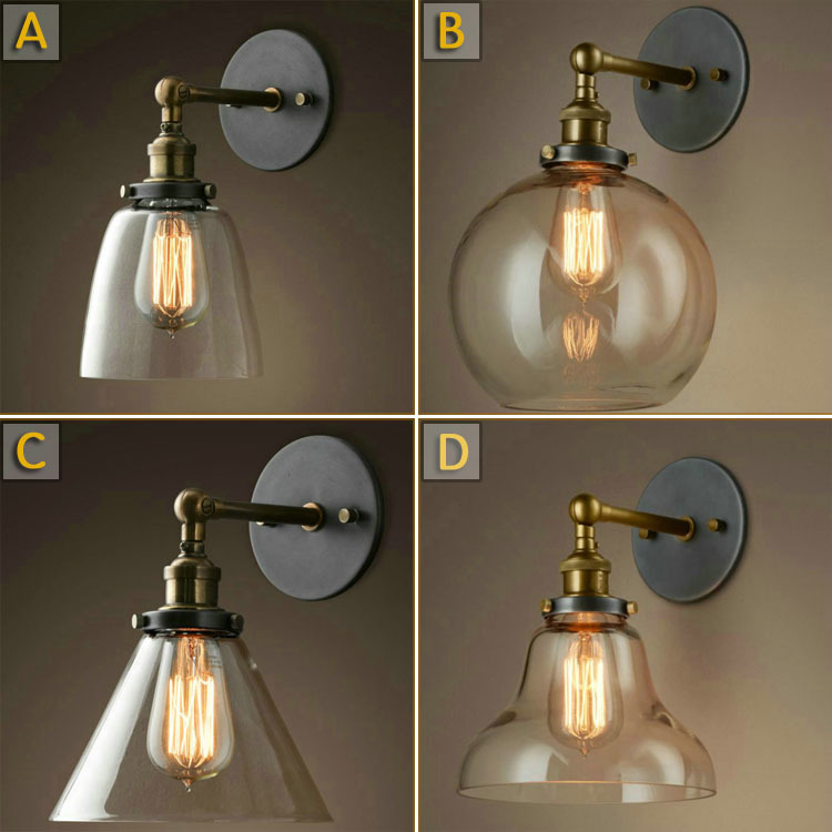 American Country Iron Wall Lamp Industrial Retro Iron Loft Light  Glass Shade Ball Bathroom Light Hallway Light Free Shipping american country industrial retro bar cafe wall lamp wall lamp iron double balcony aisle