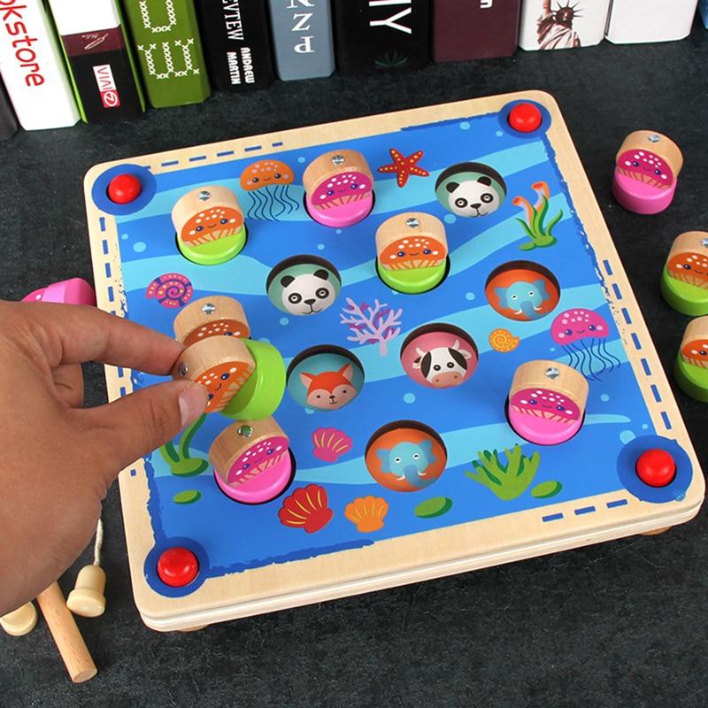 Dessin animé enfants en bois mémoire jeu d'échecs jouets début jouet éducatif 3D Puzzles pour enfants noël cadeau d'anniversaire